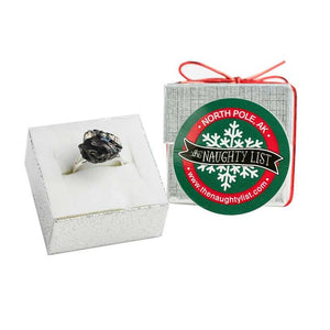 Christmas Coal Ring in a Silver Ring Box by The Naughty List.