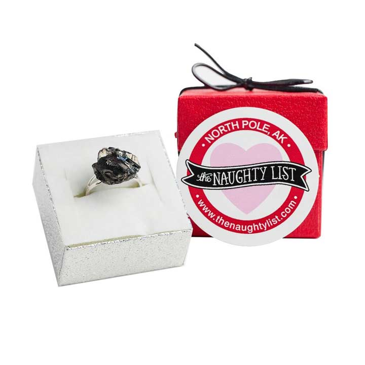Valentine's Day Coal Ring in Matte Red Box available at http://www.thenaughtylist.com