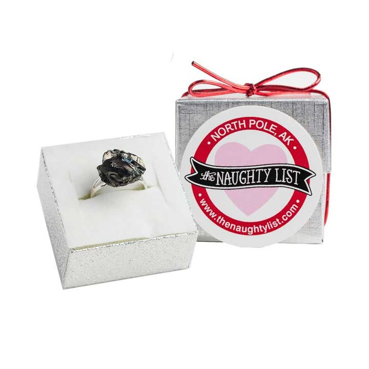Valentine's Day Coal Ring in Silver Box available at http://www.thenaughtylist.com