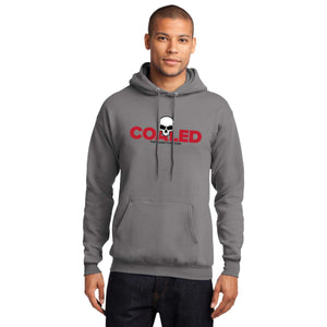 Coaled Skull - Adult Fleece Hoodie in Medium Grey and Red Print | thenaughtylist.com