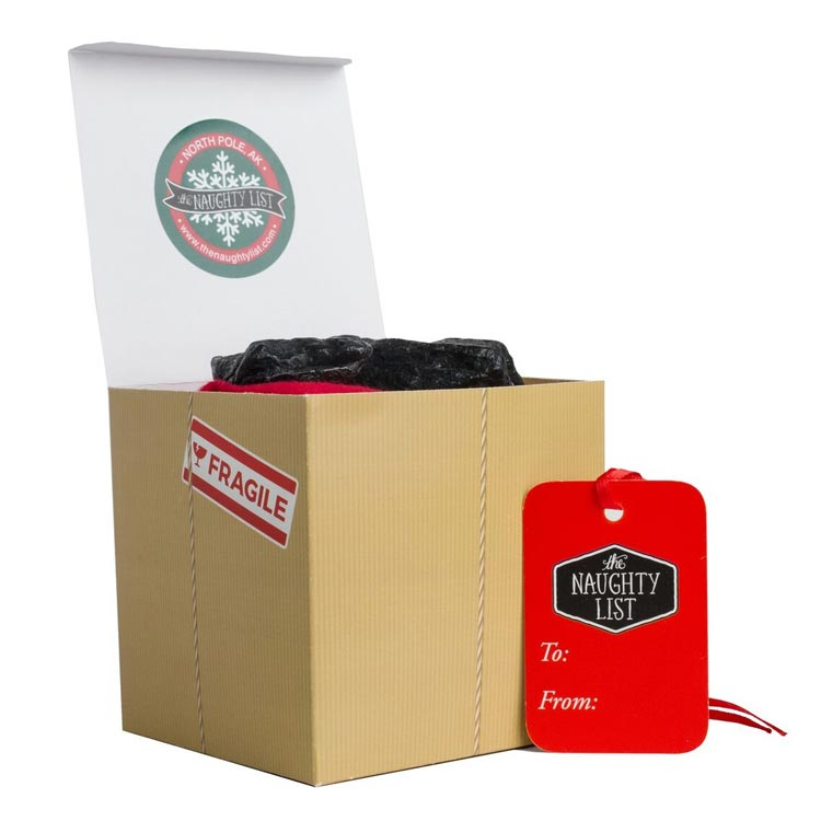 "Large lump of coal - ""Handle with Care"" packaging available at http://www.thenaughtylist.com"