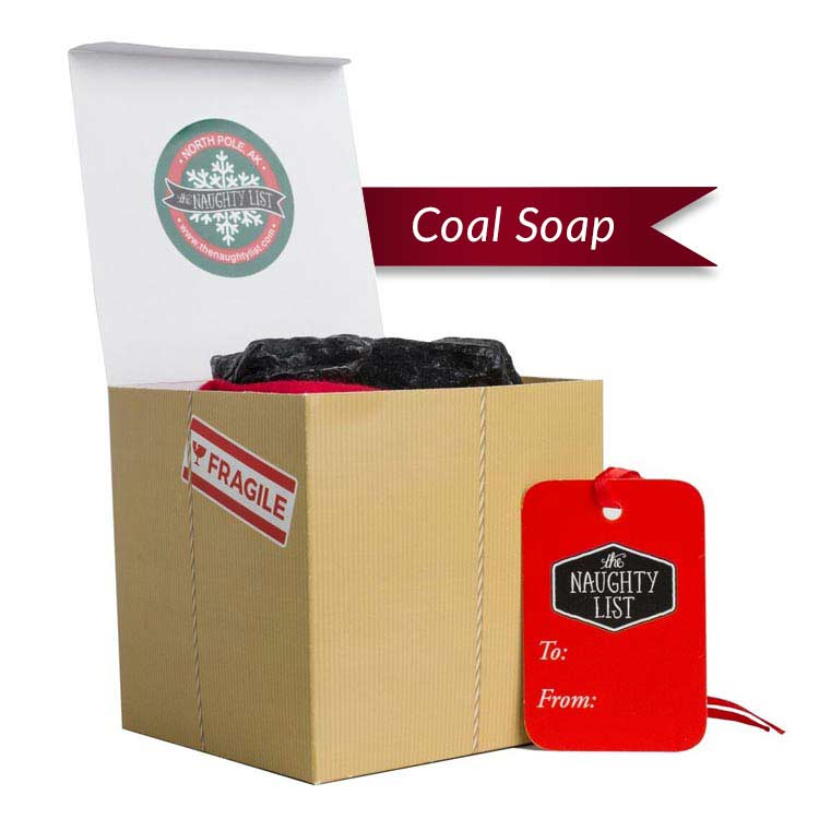 "Large lump of coal soap - ""Handle with Care"" packaging available at http://www.thenaughtylist.com"