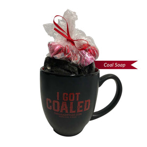 I Got Coaled | Coffee Cup & Coal Soap with Red Insert - Pic 3 | Gift Sets | www.thenaughtylist.com