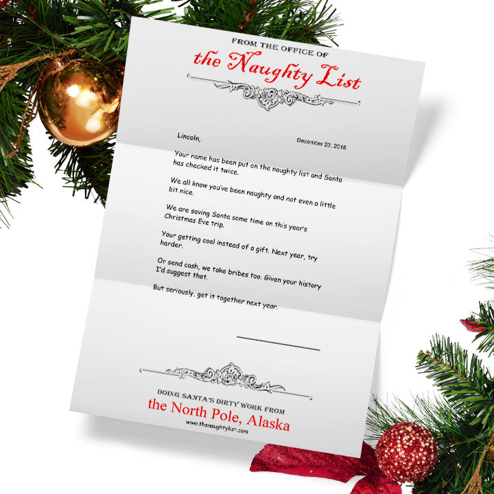 Christmas Letters.Personalized Letter From Santa The Naughty List