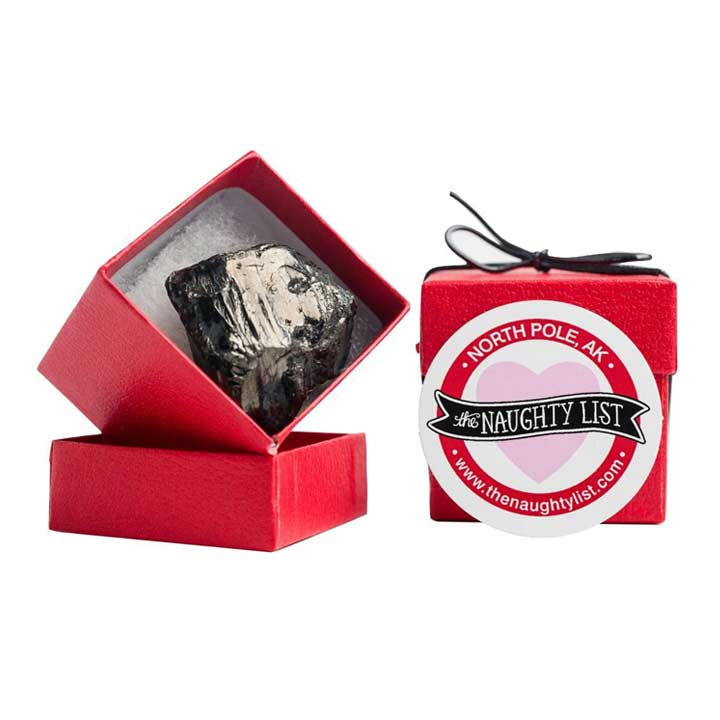 Valentine's Day Coal Lump in Shiny Red Box available at http://www.thenaughtylist.com