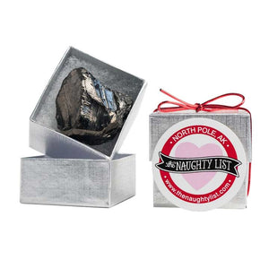 Valentine's Day Coal Lump in Silver Box available at http://www.thenaughtylist.com