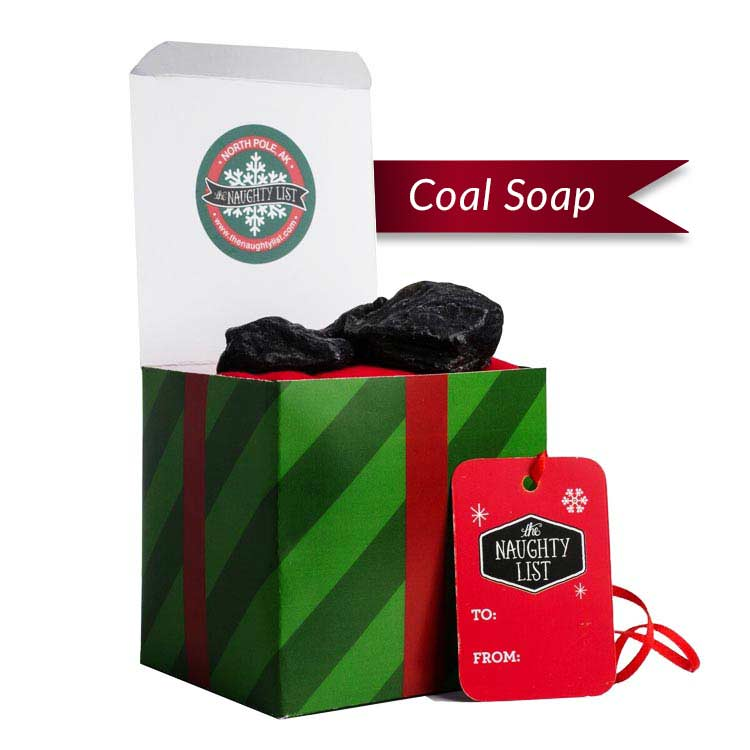 "Large Lump of Coal Soap - ""Mistletoe"" packaging available at http://www.thenaughtylist.com"