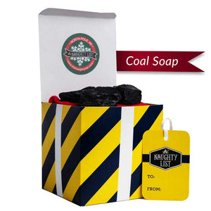 "Large Lump of Coal Soap - ""Morning Glory"" Packaging Available at http://www.thenaughtylist.com"
