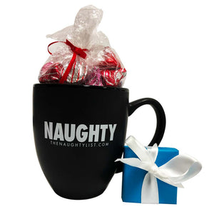 """Naughty"" Black Coffee Mug/White Inner Finish Gift Set with Coal Ring & Hershey Kisses"