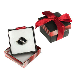 """I Got Coaled"" Black Coffee Mug/Red Inner Finish Gift Set with Coal Ring & Hershey Kisses"