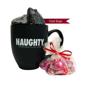 Naughty | Coffee Cup & Coal Soap with Red Insert - Pic 1 | Gift Sets | www.thenaughtylist.com