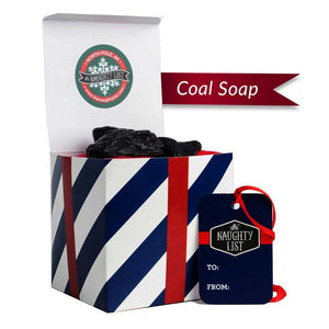 "Large Lump of Coal Soap - ""Navy-N-Nice"" packaging available at http://www.thenaughtylist.com"