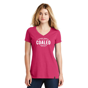 """Original Member"" Coaled - Ladies V Neck T-shirt in Pink and Graphite"