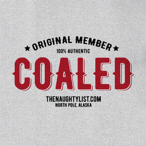 """Original Member"" Coaled - Ash Hooded Fleece Pullover with Black & Red Print - Example 2 