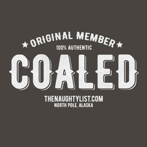 """Original Member"" Coaled -  Charcoal Hooded Fleece Pullover with White Print Example 1 