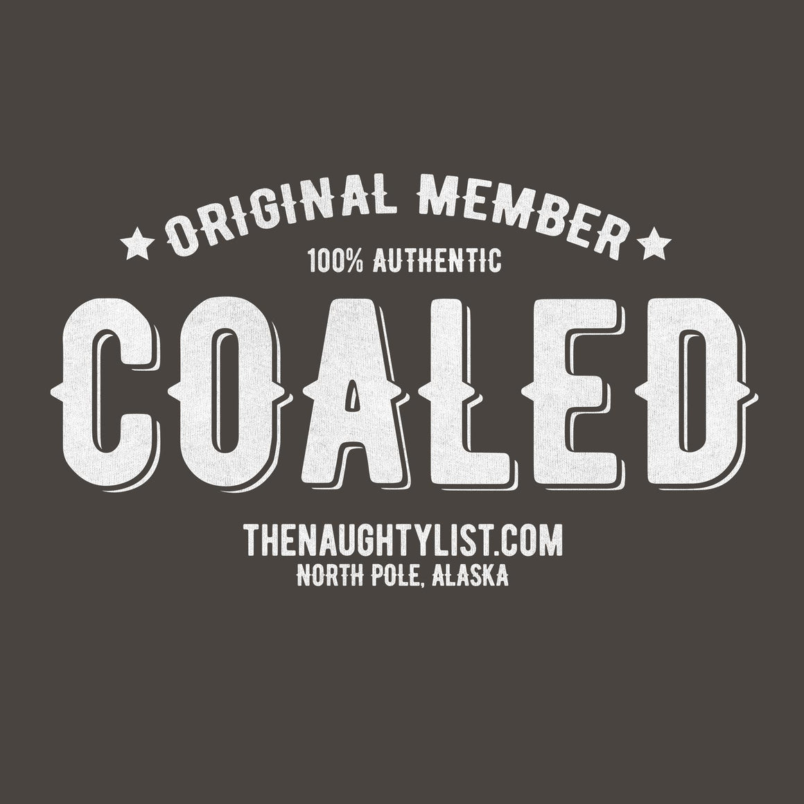 """Original Member"" Coaled -  Adult Charcoal Hooded Fleece Pullover with White Print 