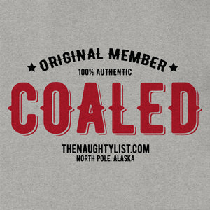 """Original Member"" Coaled - Men's T-shirt in Lt. Graphite Twist with Black & Red Print - Example 2 