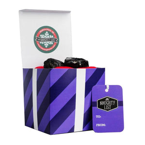"Large lump of coal - ""Purple Prancer"" packaging available at http://www.thenaughtylist.com"