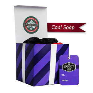 "Large Lump of Coal Soap - ""Purple Prancer"" packaging - Funny Christmas Gift -  available at http://www.thenaughtylist.com"
