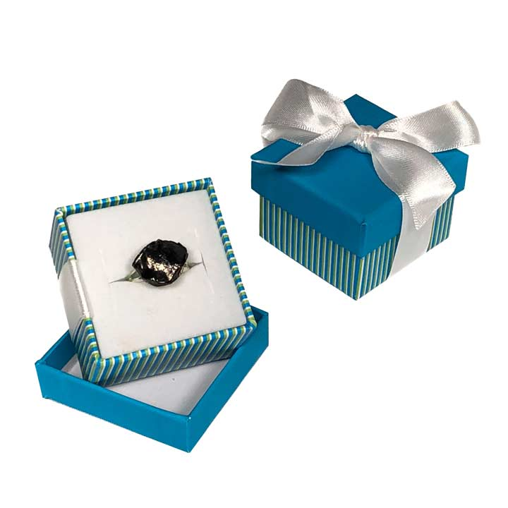 """Everyday"" Coal Ring in a Blue Box Available at www.thenaughtylist.com"