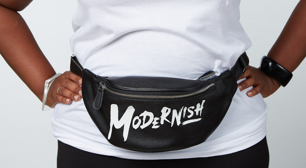 Black Leather Modernish Fanny Pack - Only a few left!
