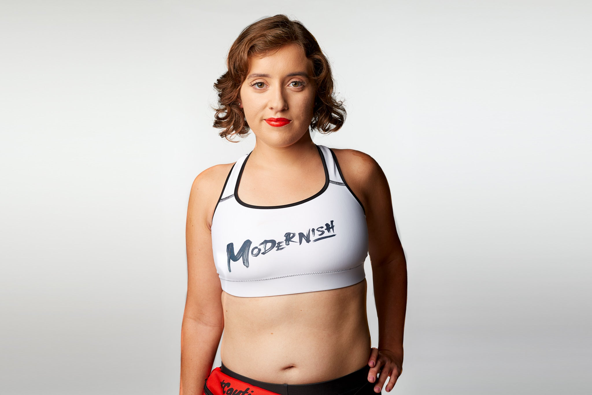 White Modern-Ish Sports Bra