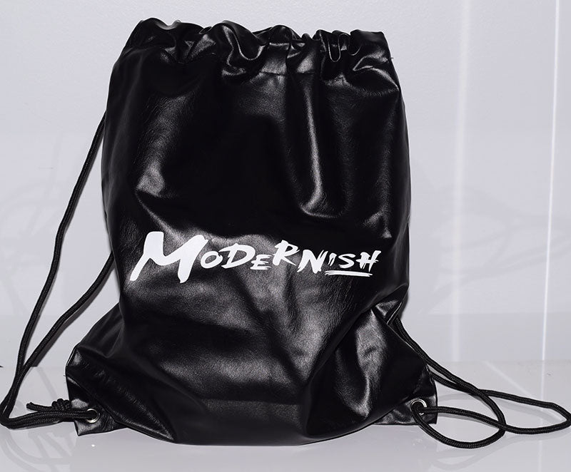 Modern-ish Faux Leather Black Drawstring Bag - Only a few left!