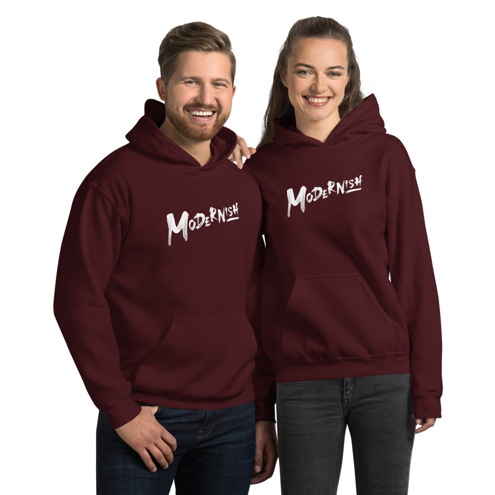 Modern-ish Hooded Sweatshirt (White Letters)