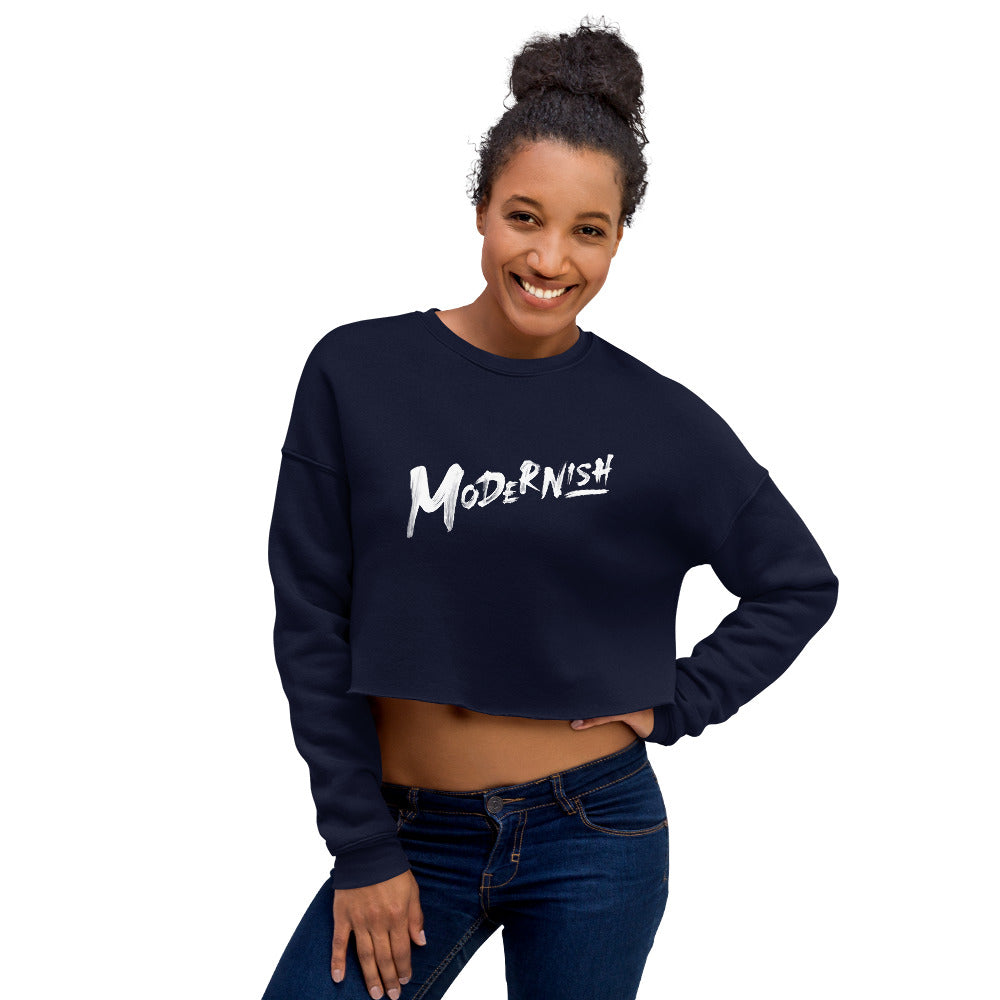 Modernish Crop Sweatshirt (White Letters)