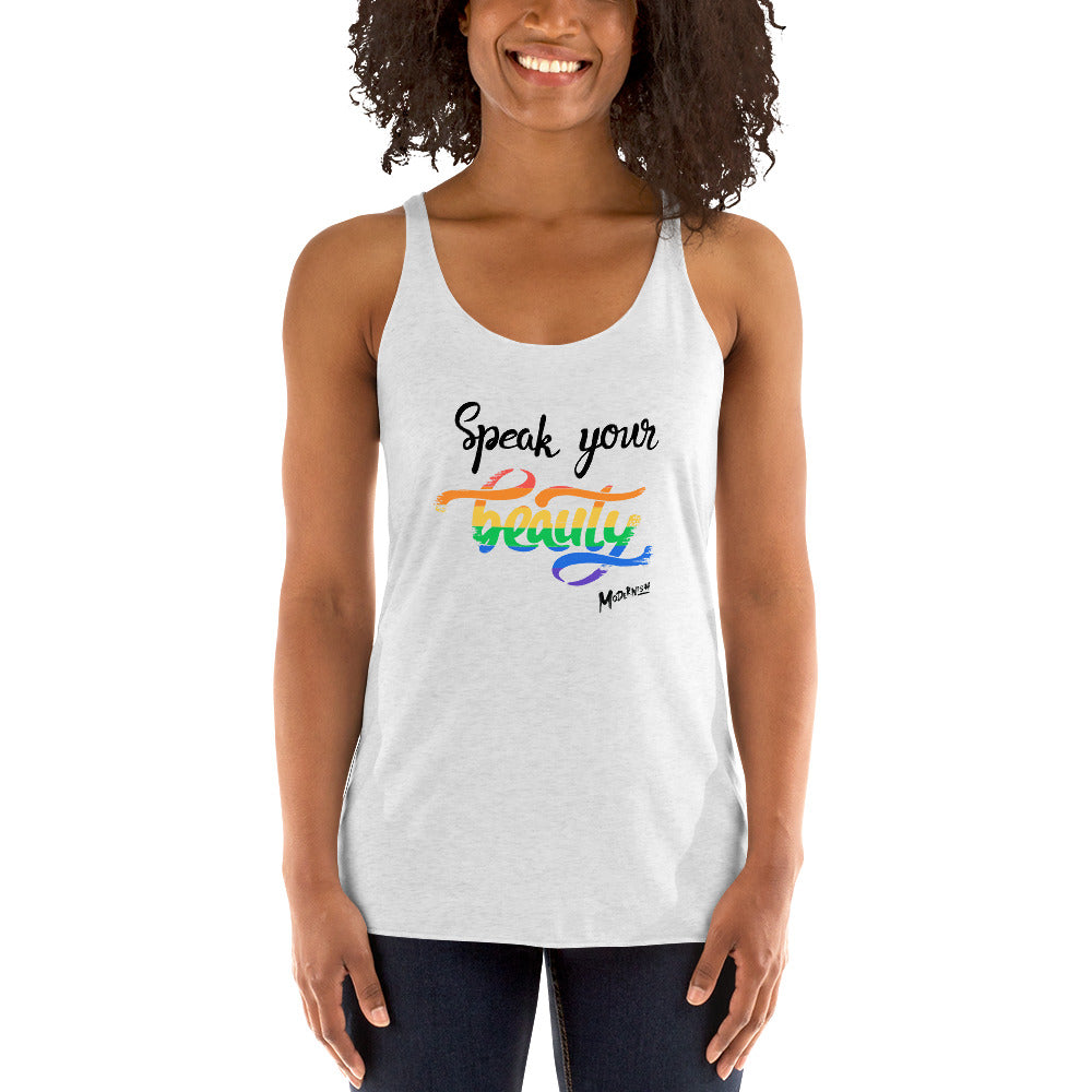 Speak Your Beauty 2vWomen's Racerback Tank