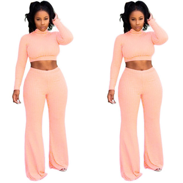 Two Piece Long Sleeve Crop Top and Pants Set