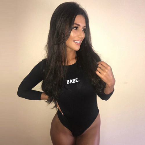 """BABE"" Long Sleeve Bodysuit"