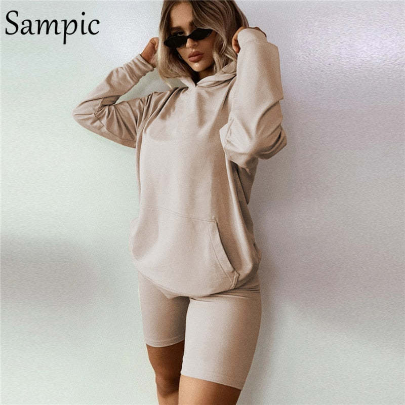 Long Sleeve Hoodie And Biker Shorts Two Piece Set