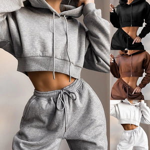 Two Piece Crop Hoodie And Long Pants Set