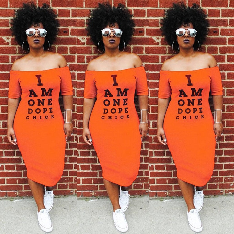 "Cold Shoulder ""I Am One Dope Chick"" Bodycon Dress"