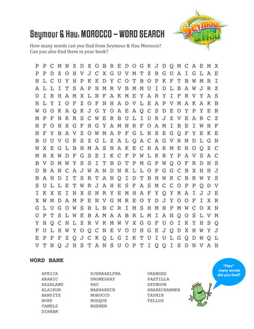 word search, Morocco, Marrakech, Kid's Games,