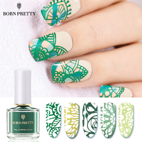 Born Pretty Black White 6ml Nail Stamping Polish Lacquer Gold Silver Manicure Art Stamp Varnish Red Nail Printing Vernis Beauty & Health