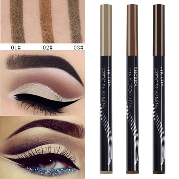 77974418339 PHOERA Double Head Eyebrow Pencil Waterproof Makeup Eyebrow Tattoo Pen With  Brush lasting Makeup Cosmetics