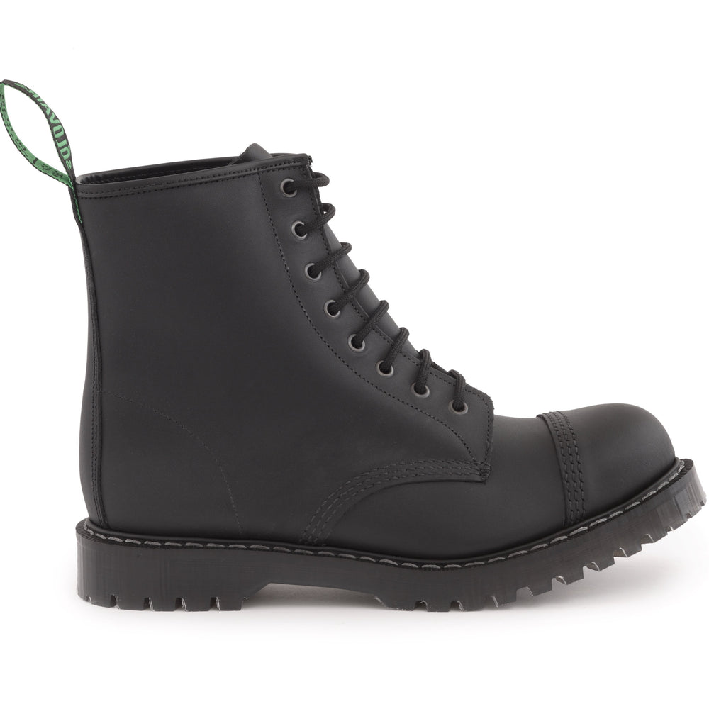 Classic 8 Eye Steel Toe Derby in Greasy Black