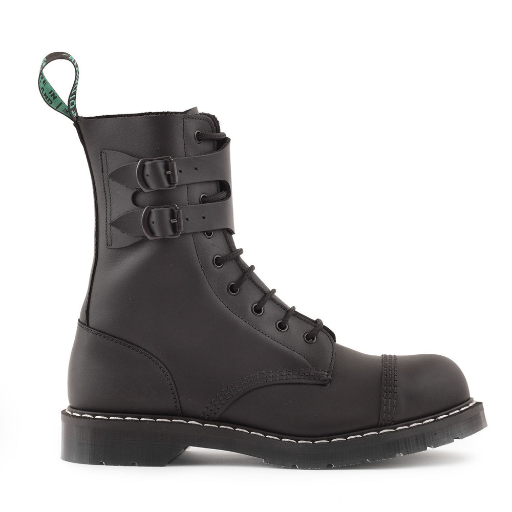 Classic 9 Eye Steel Toe Buckle Boot in Greasy Black