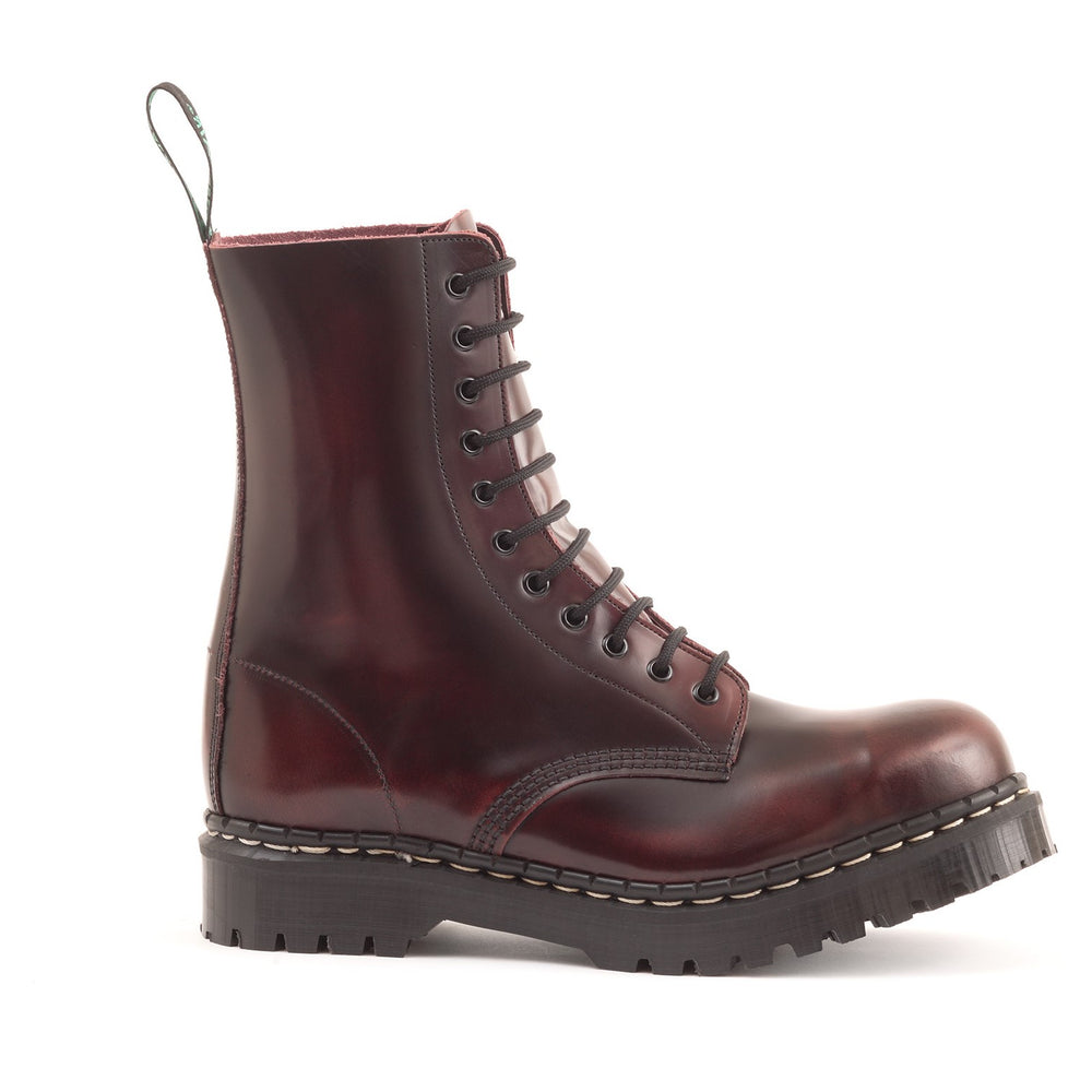 Classic 11 Eye Steel Toe Derby in Burgundy Rub