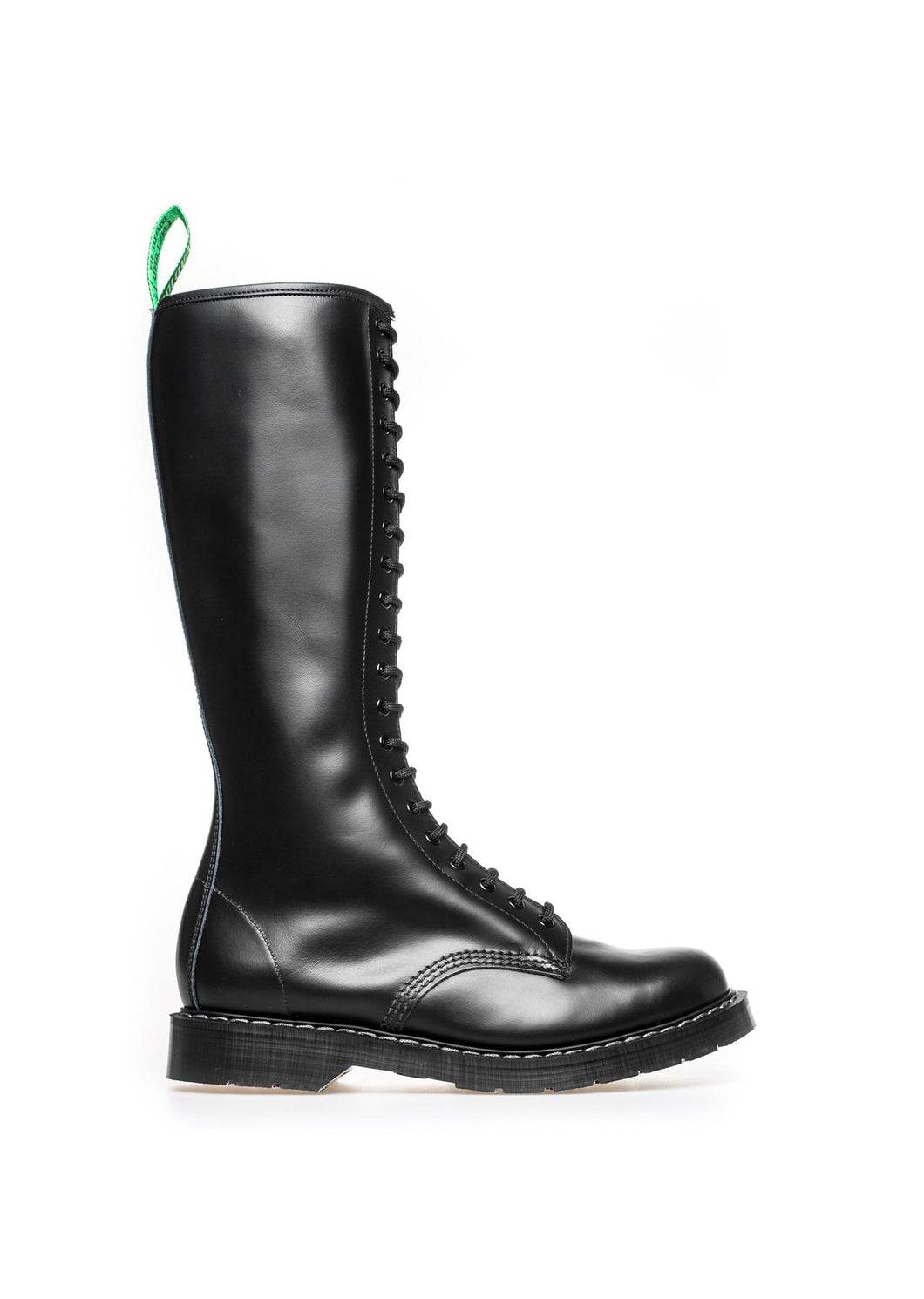 Classic 20 Eye Zipper Derby Boot in Black