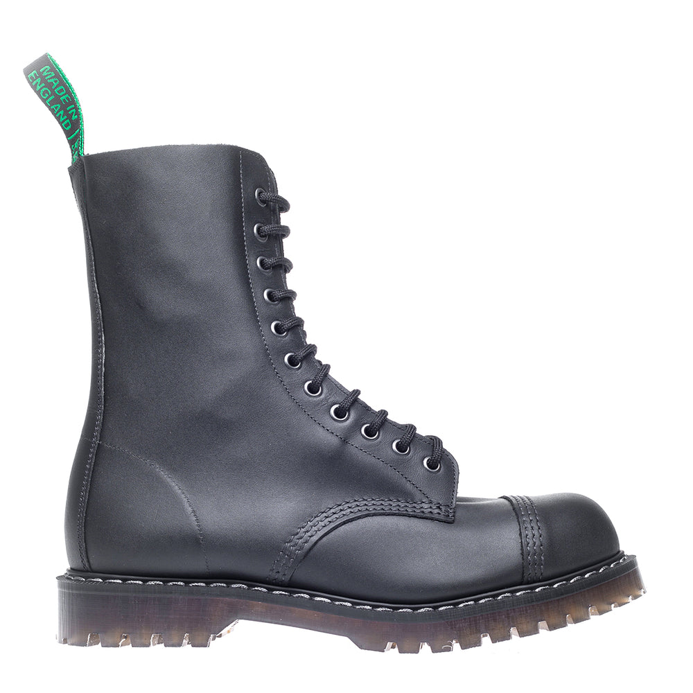 Classic 11 Eye Steel Toe Derby in Greasy Black