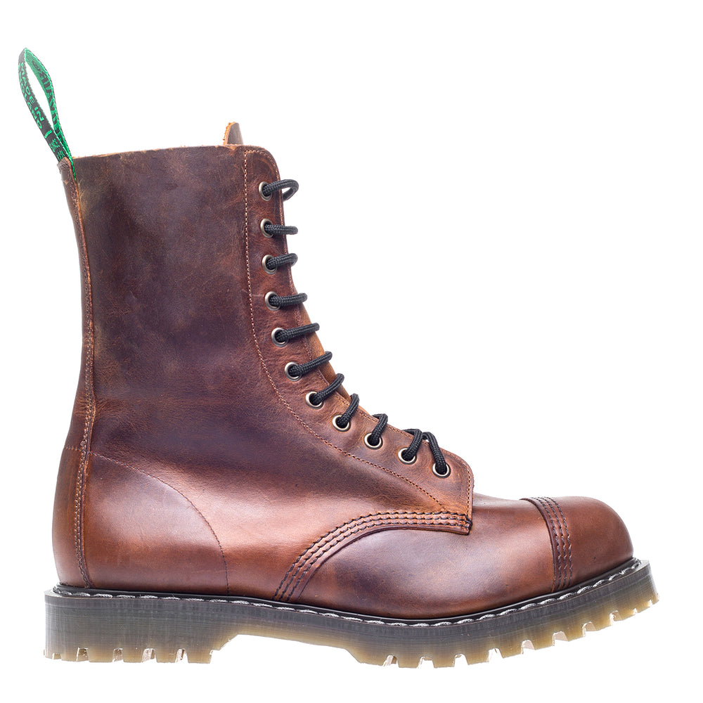 Classic 11 Eye Steel Toe Derby in Natural Tan