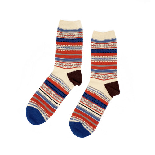 Tribal Stripe Socks - Blue Orange