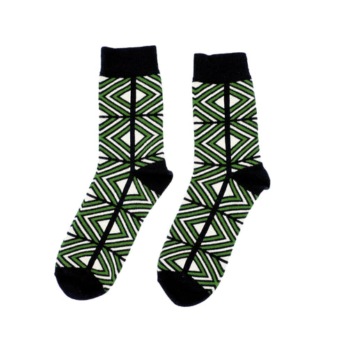 Get Lost In Square Socks - Black