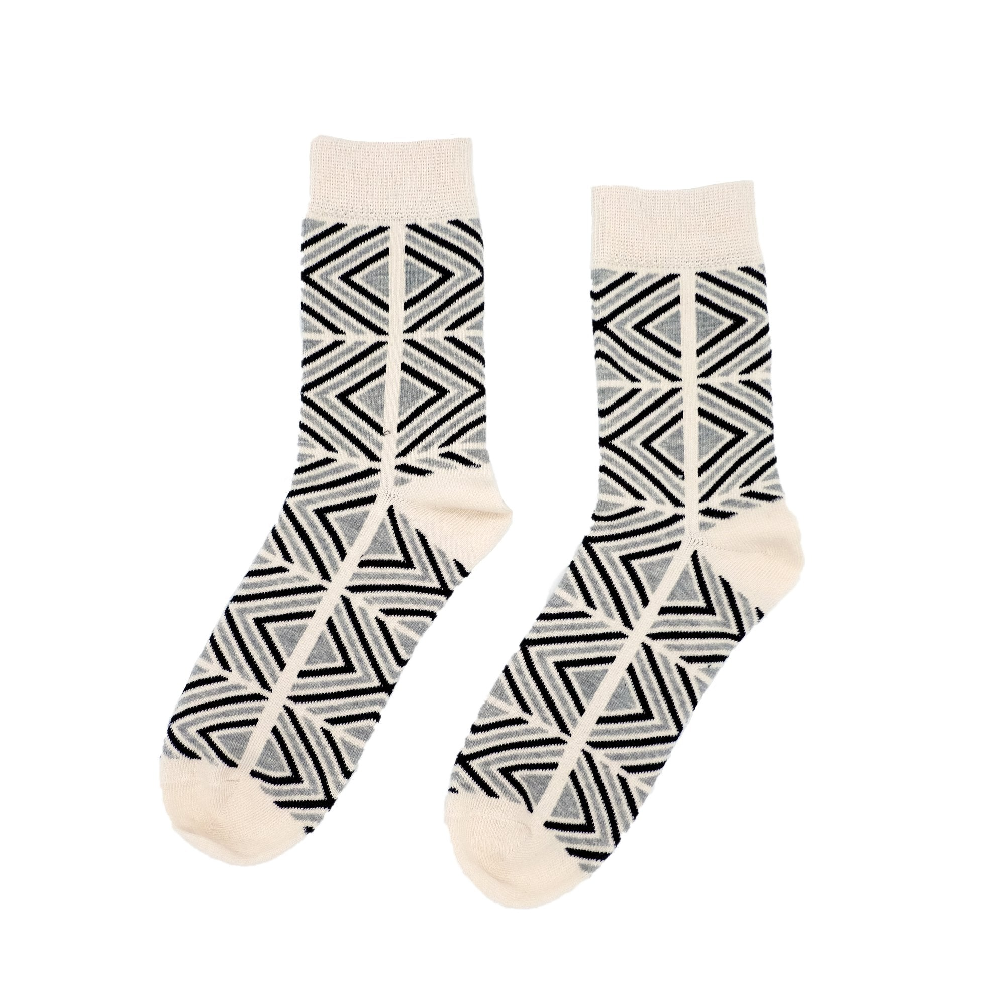 Get Lost In Square Socks - White