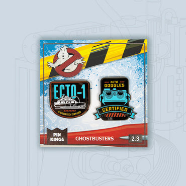 Pin Kings Ghostbusters Enamel Pin Badge Set 2.3 – Ecto-1 & Ecto Goggles