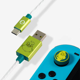 Official The Grinch LED USB C Cable & Thumb Grips (Nintendo Switch)