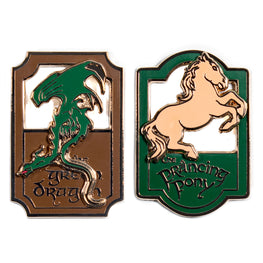 Pin Kings Lord of the Rings Enamel Pin Badge Set 1.1 – Prancing Pony & Green Dragon